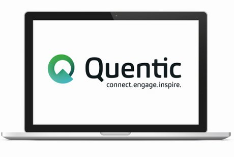 Laptop mit Quentic Logo